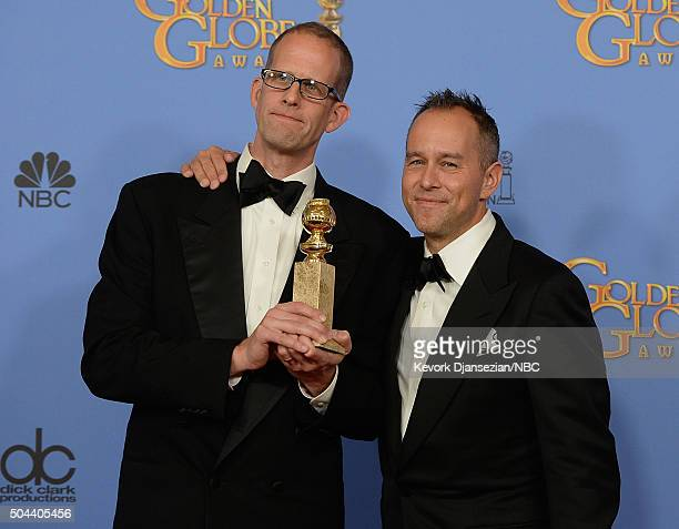 73rd ANNUAL GOLDEN GLOBE AWARDS Pictured Writer/directors Pete Docter and producer Jonas Rivera winners of the award for Best Animated Film for...