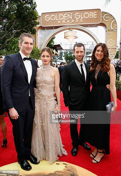 73rd ANNUAL GOLDEN GLOBE AWARDS Pictured Writer/producer David Benioff actress Amanda Peet writer/producer D B Weiss and writer Andrea Troyer arrive...