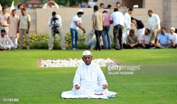 73year old anticorruption crusader Anna Hazare of India sits during a protest at Rajghat in New Delhi on August 15 2011 A veteran Indian...