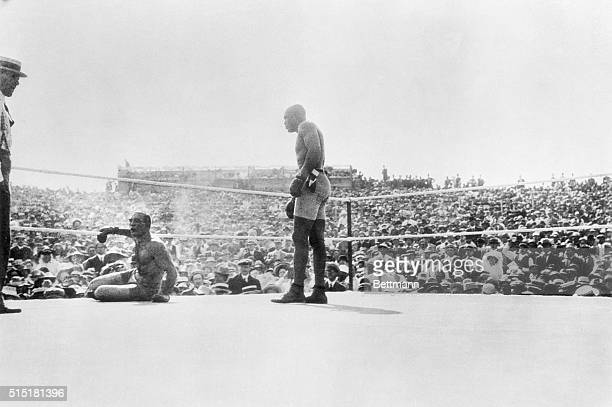 7/4/1910Reno Nevada Jack Johnson knocks out Jim Jeffries who had come out of retirement The battle lasting 15 rounds was staged on July 4 1910 in...