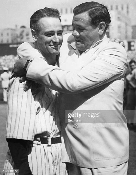 _Babe Ruth greets his former teammate Lou Gehrig on the occasion of 'Lou Gehrig Day' at Yankee Stadium during a ceremony honoring the nonplaying...
