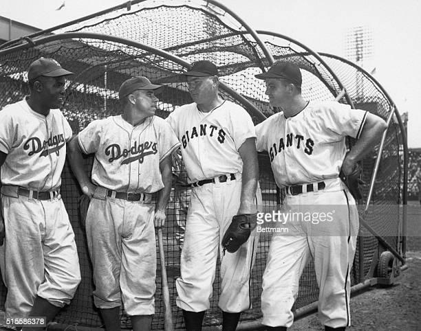7/4/1949The Big Four meet Jackie Robinson Willard Marshall John Mize and Pee Wee Reese July 4 1949