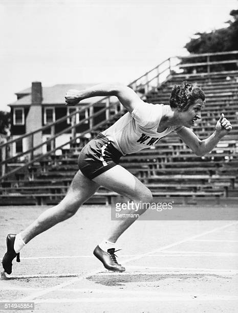 Providence, RI-ORIGINAL CAPTION READS: Miss Helen Stephens the nation's number 1 all around woman athlete was snapped at Brown University Field. She...