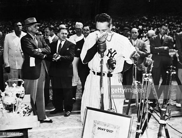 """New York: Lou Gehrig, the """"Iron Horse"""" of baseball, who was forced to the bency by amyotrophic lateral scherosis after playing 2,130 consecutive..."""
