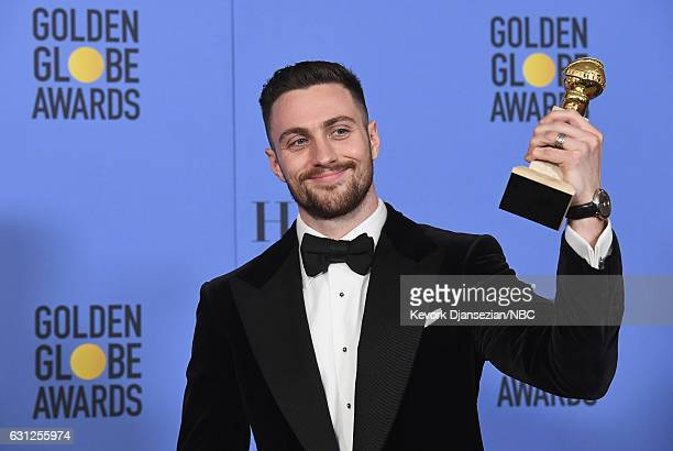 74th ANNUAL GOLDEN GLOBE AWARDS Pictured Actor Aaron TaylorJohnson winner of Best Performance by an Actor in a Supporting Role for 'Nocturnal...