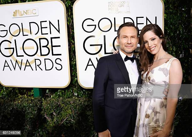 74th ANNUAL GOLDEN GLOBE AWARDS Pictured Actor Christian Slater and Brittany Lopez arrive to the 74th Annual Golden Globe Awards held at the Beverly...