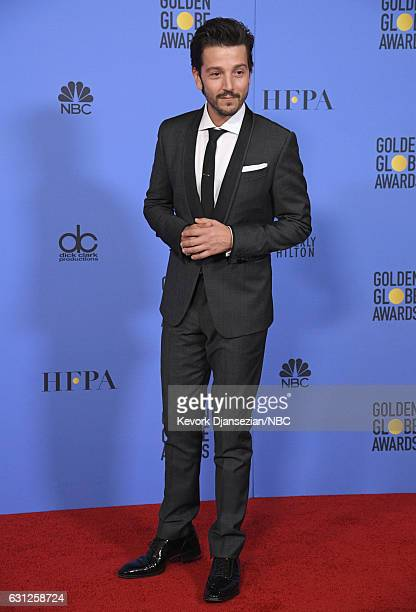 74th ANNUAL GOLDEN GLOBE AWARDS Pictured Actor Diego Luna poses in the press room at the 74th Annual Golden Globe Awards held at the Beverly Hilton...