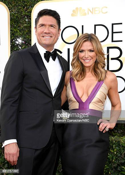 74th ANNUAL GOLDEN GLOBE AWARDS Pictured Actor Jon Falcone and television host Debbie Matenopoulos arrive to the 74th Annual Golden Globe Awards held...