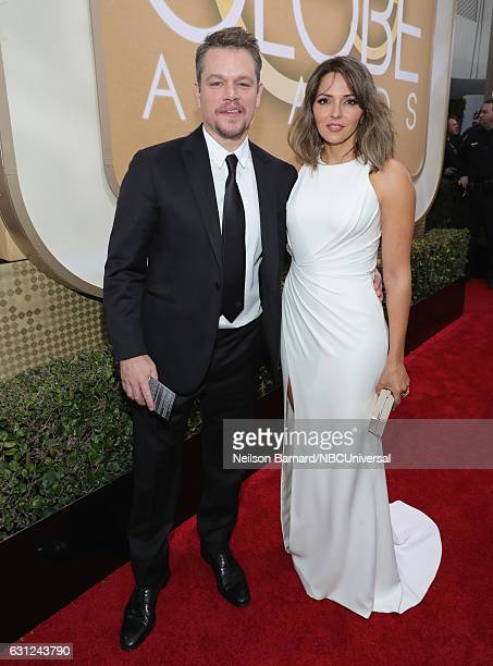 74th ANNUAL GOLDEN GLOBE AWARDS Pictured Actor Matt Damon and Luciana Damon arrive to the 74th Annual Golden Globe Awards held at the Beverly Hilton...