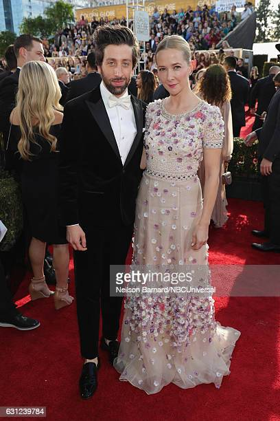 74th ANNUAL GOLDEN GLOBE AWARDS Pictured Actor Simon Helberg and actress Jocelyn Towne arrive to the 74th Annual Golden Globe Awards held at the...