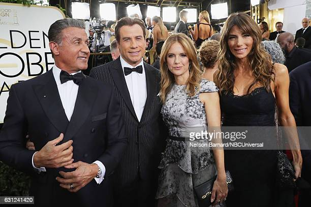74th ANNUAL GOLDEN GLOBE AWARDS Pictured Actor Sylvester Stallone actor/producer John Travolta actress Kelly Preston and model/businesswoman Jennifer...