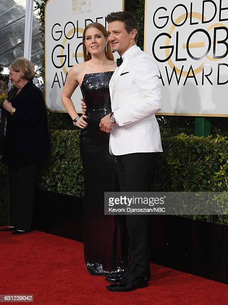 74th ANNUAL GOLDEN GLOBE AWARDS Pictured Actors Amy Adams and Jeremy Renner arrive to the 74th Annual Golden Globe Awards held at the Beverly Hilton...