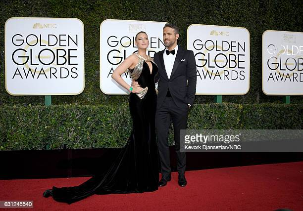 74th ANNUAL GOLDEN GLOBE AWARDS Pictured Actors Blake Lively and Ryan Reynolds arrive to the 74th Annual Golden Globe Awards held at the Beverly...