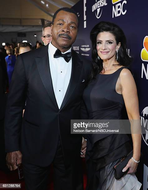74th ANNUAL GOLDEN GLOBE AWARDS Pictured Actors Carl Weathers and Christine Kludjian pose during the Universal NBC Focus Features E Entertainment...