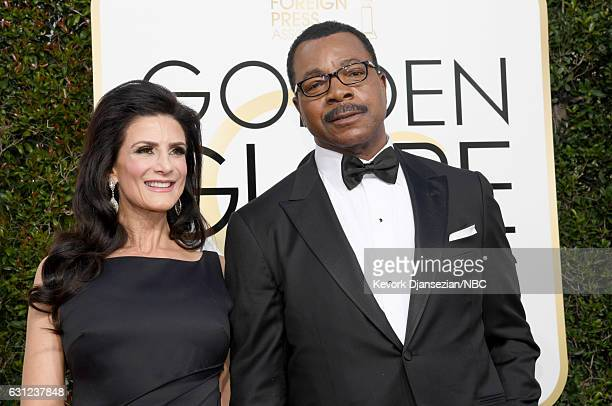 74th ANNUAL GOLDEN GLOBE AWARDS Pictured Actors Christine Kludjian and Carl Weathers arrive to the 74th Annual Golden Globe Awards held at the...