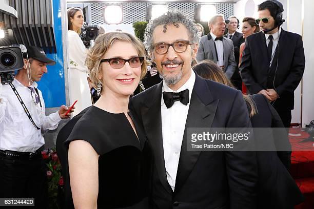 74th ANNUAL GOLDEN GLOBE AWARDS Pictured Actors Katherine Borowitz and John Turturro arrive to the 74th Annual Golden Globe Awards held at the...