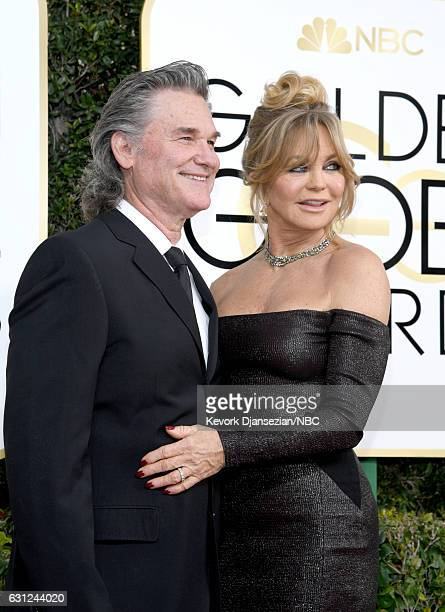 74th ANNUAL GOLDEN GLOBE AWARDS Pictured Actors Kurt Russell and Goldie Hawn arrive to the 74th Annual Golden Globe Awards held at the Beverly Hilton...