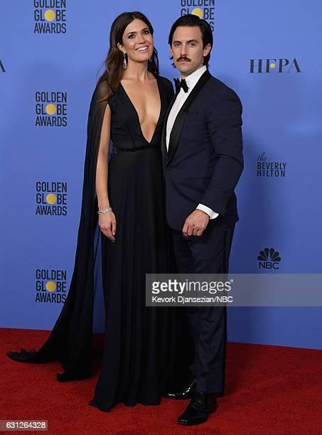 74th ANNUAL GOLDEN GLOBE AWARDS Pictured Actors Mandy Moore and Milo Ventimiglia pose in the press room at the 74th Annual Golden Globe Awards held...