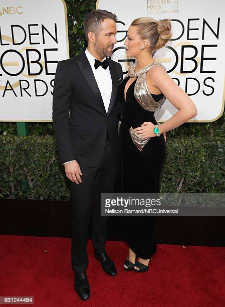 74th ANNUAL GOLDEN GLOBE AWARDS -- Pictured: Actors Ryan Reynolds and Blake Lively arrive to the 74th Annual Golden Globe Awards held at the Beverly...