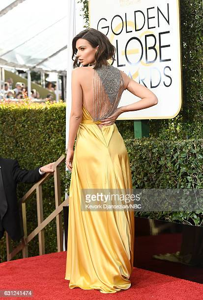 74th ANNUAL GOLDEN GLOBE AWARDS Pictured Actress Emily Ratajkowski arrives to the 74th Annual Golden Globe Awards held at the Beverly Hilton Hotel on...