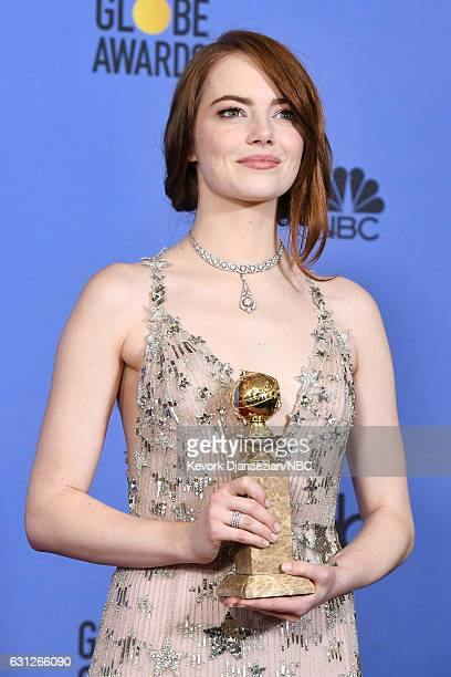 74th ANNUAL GOLDEN GLOBE AWARDS -- Pictured: Actress Emma Stone, winner of the Best Performance by an Actress in a Motion Picture — Comedy or Musical...