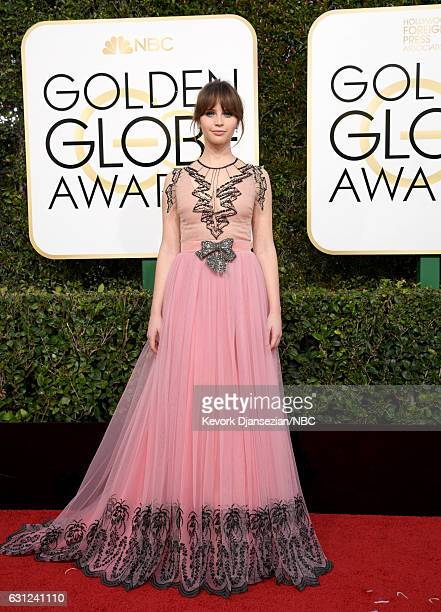 74th ANNUAL GOLDEN GLOBE AWARDS Pictured Actress Felicity Jones arrives to the 74th Annual Golden Globe Awards held at the Beverly Hilton Hotel on...