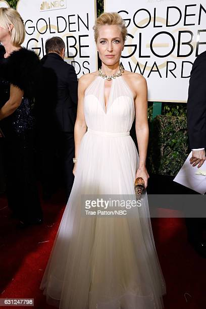 74th ANNUAL GOLDEN GLOBE AWARDS Pictured Actress Gillian Anderson arrives to the 74th Annual Golden Globe Awards held at the Beverly Hilton Hotel on...