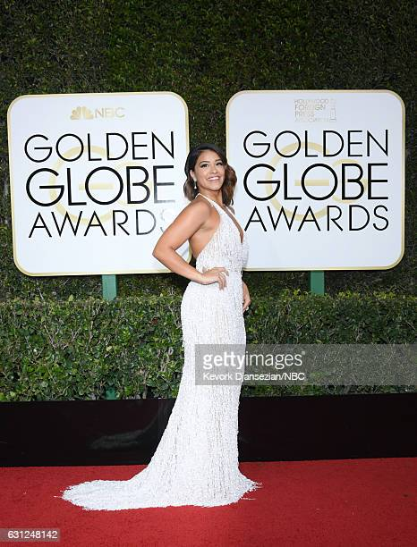 74th ANNUAL GOLDEN GLOBE AWARDS Pictured Actress Gina Rodriguez arrives to the 74th Annual Golden Globe Awards held at the Beverly Hilton Hotel on...