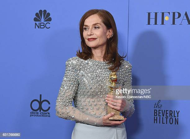74th ANNUAL GOLDEN GLOBE AWARDS Pictured Actress Isabelle Hupper winner of the Best Performance by an Actress in a Motion Picture — Drama for...
