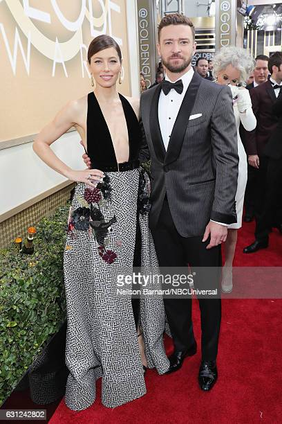 74th ANNUAL GOLDEN GLOBE AWARDS Pictured Actress Jessica Biel and recording artrist Justin Timberlake arrive to the 74th Annual Golden Globe Awards...