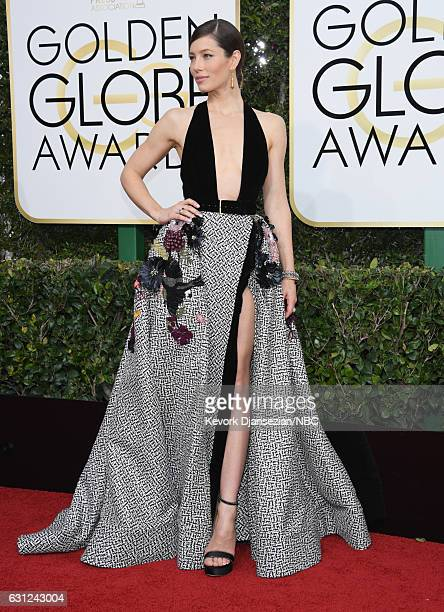 74th ANNUAL GOLDEN GLOBE AWARDS Pictured Actress Jessica Biel arrives to the 74th Annual Golden Globe Awards held at the Beverly Hilton Hotel on...