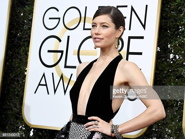 74th ANNUAL GOLDEN GLOBE AWARDS -- Pictured: Actress Jessica Biel arrives to the 74th Annual Golden Globe Awards held at the Beverly Hilton Hotel on...
