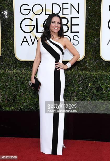 74th ANNUAL GOLDEN GLOBE AWARDS Pictured Actress Julia LouisDreyfus arrives to the 74th Annual Golden Globe Awards held at the Beverly Hilton Hotel...