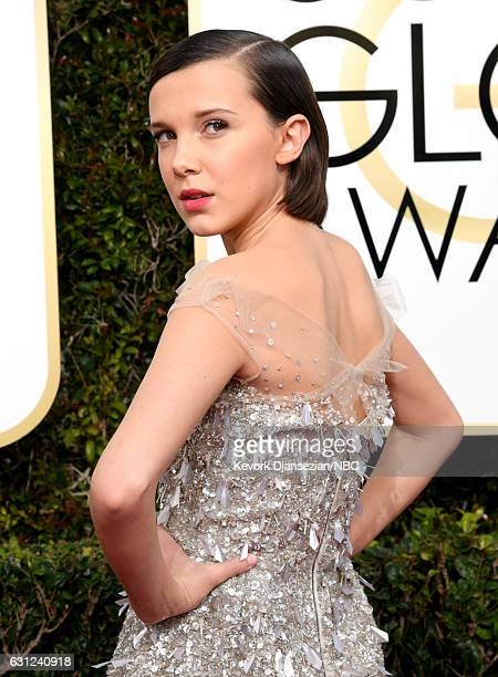 74th ANNUAL GOLDEN GLOBE AWARDS Pictured Actress Millie Bobby Brown arrives to the 74th Annual Golden Globe Awards held at the Beverly Hilton Hotel...