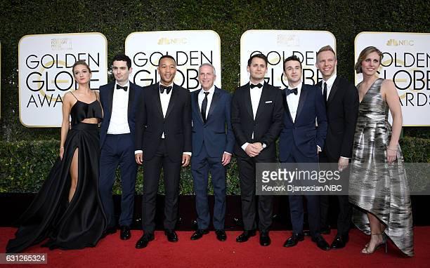 74th ANNUAL GOLDEN GLOBE AWARDS Pictured Actress Olivia Hamilton director Damien Chazelle musician John Legend producer Marc Platt lyricist Benj...