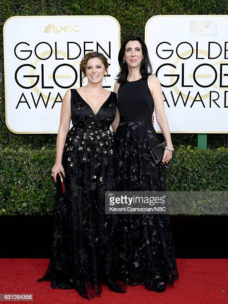 74th ANNUAL GOLDEN GLOBE AWARDS Pictured Actress Rachel Bloom and writer/producer Aline Brosh McKenna arrive to the 74th Annual Golden Globe Awards...