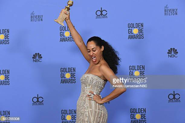 74th ANNUAL GOLDEN GLOBE AWARDS Pictured Actress Tracee Ellis Ross winner of Best Actress in a TV Series Musical or Comedy for 'Blackish' poses in...