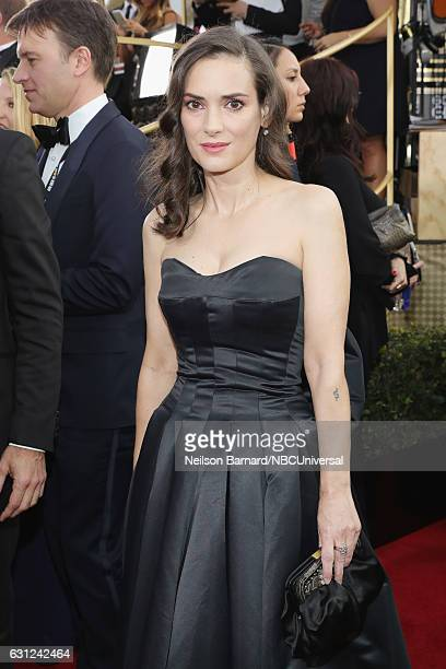 74th ANNUAL GOLDEN GLOBE AWARDS Pictured Actress Winona Ryder arrives to the 74th Annual Golden Globe Awards held at the Beverly Hilton Hotel on...