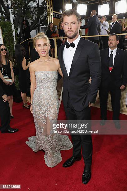 74th ANNUAL GOLDEN GLOBE AWARDS Pictured Actress/model Elsa Pataky and actor Chris Hemsworth arrive to the 74th Annual Golden Globe Awards held at...