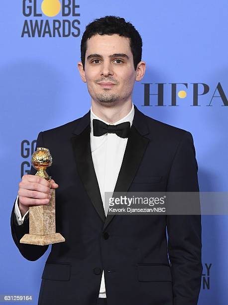 74th ANNUAL GOLDEN GLOBE AWARDS Pictured Director Damien Chazelle winner of the Best Screenplay — Motion Picture for 'La La Land' poses in the press...