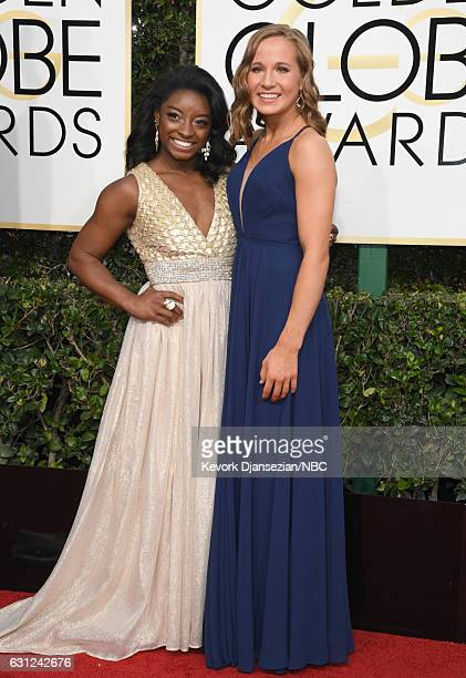 74th ANNUAL GOLDEN GLOBE AWARDS Pictured Gymnasts Simone Biles and Madison Kocian arrive to the 74th Annual Golden Globe Awards held at the Beverly...