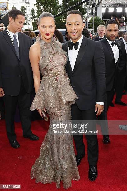 74th ANNUAL GOLDEN GLOBE AWARDS Pictured Model Chrissy Teigen and recording artist John Legend arrive to the 74th Annual Golden Globe Awards held at...