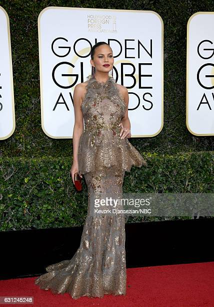 74th ANNUAL GOLDEN GLOBE AWARDS Pictured Model Chrissy Teigen arrives to the 74th Annual Golden Globe Awards held at the Beverly Hilton Hotel on...