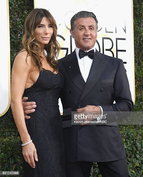 74th ANNUAL GOLDEN GLOBE AWARDS Pictured Model Jennifer Flavin and actor Sylvester Stallone arrive to the 74th Annual Golden Globe Awards held at the...