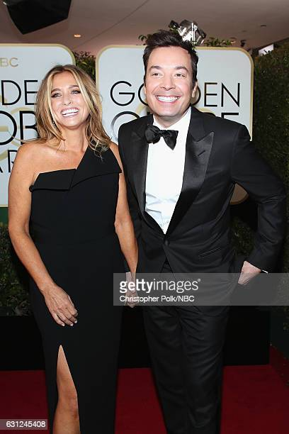 74th ANNUAL GOLDEN GLOBE AWARDS Pictured Nancy Juvonen and host Jimmy Fallon arrive to the 74th Annual Golden Globe Awards held at the Beverly Hilton...