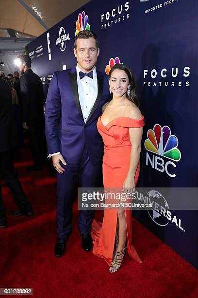 74th ANNUAL GOLDEN GLOBE AWARDS Pictured NFL player Colton Underwood and Olympic gymnast Aly Raisman pose during the Universal NBC Focus Features E...