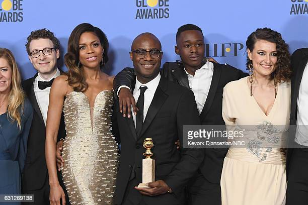 74th ANNUAL GOLDEN GLOBE AWARDS Pictured Nicholas Britell Naomie Harris Barry Jenkins Ashton Sanders and Adele Romanski of 'Moonlight' pose with the...