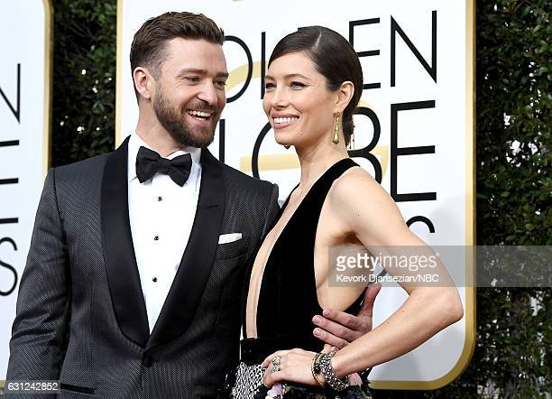 74th ANNUAL GOLDEN GLOBE AWARDS Pictured Singer/actor Justin Timberlake and actress Jessica Biel arrive to the 74th Annual Golden Globe Awards held...