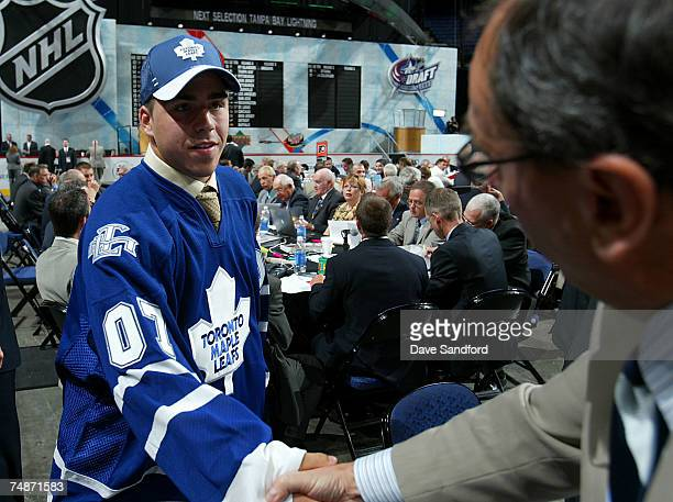 74th overall pick Dale Mitchell of the Toronto Maple Leafs greets team personnel during the 2007 NHL Entry Draft at Nationwide Arena on June 23 2007...
