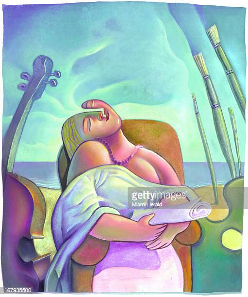 75p x 89p Earl F Lam III color illustration of dreaming woman holding scrolled paper sits in chair surrounded by cello pallet and paintbrushes...